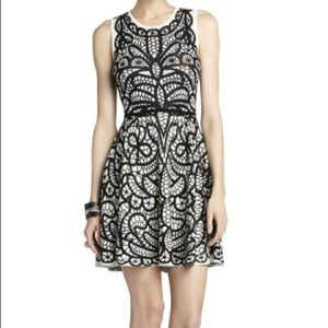 BCBGMaxAzria TALULAH Pleated Jacquard Dress (M)